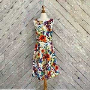 Black Label by Evan Picone Watercolor Floral Dress